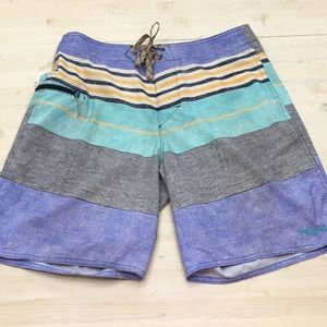 Patagonia striped board shorts sz 32